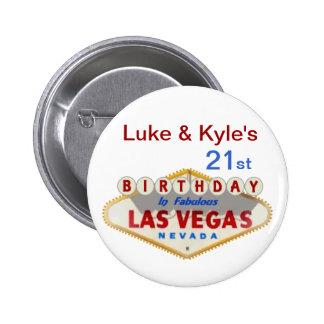 21ème bouton d anniversaire de Las Vegas de Luc et Badge
