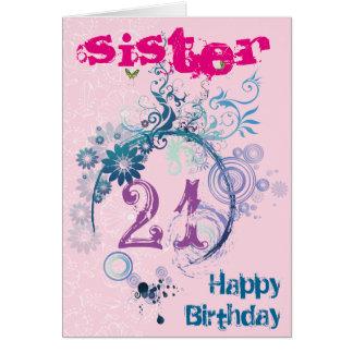 21ème Carte d'anniversaire pour la soeur
