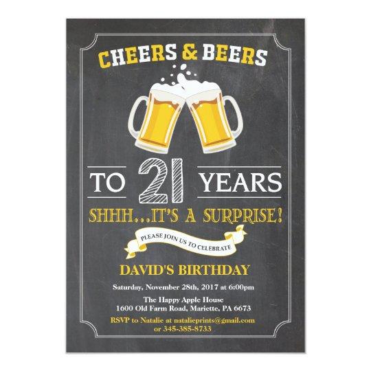21ème carte d'invitation d'anniversaire carton d'invitation  12,7 cm x 17,78 cm