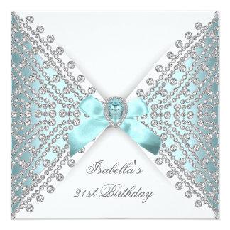21ème Diamant blanc argenté bleu turquoise de fête Carton D'invitation 13,33 Cm