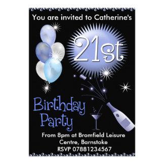 21ème Invitation de fête d anniversaire - verre de