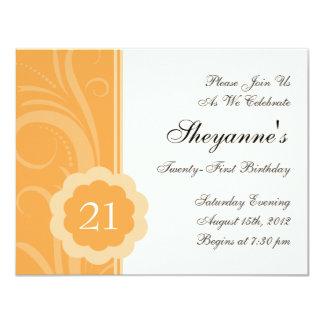 21ème invitation de fête d'anniversaire d'agrume