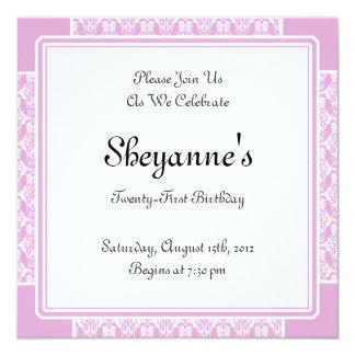 21ème invitation de fête d'anniversaire de carré