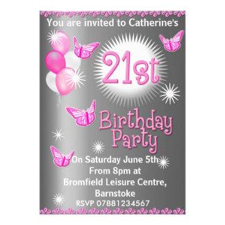 21ème invitation de fête d'anniversaire de dames
