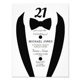 21ème invitation de fête d'anniversaire des hommes