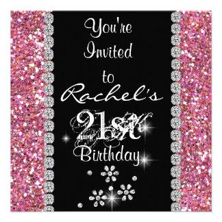 21ème Invitation ROSE BLING de fête d anniversaire