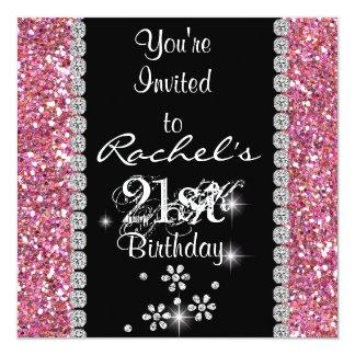 21ème Invitation ROSE BLING de fête d'anniversaire