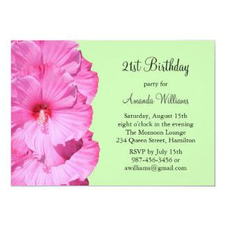 21ème invitation tropicale d'anniversaire (vert)