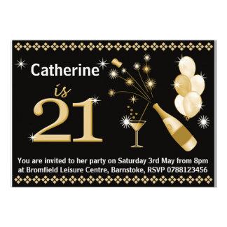 21ème Invitations de fête d anniversaire - noir et
