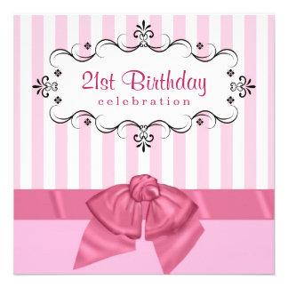21ème Invitations de fête d anniversaire - rose et