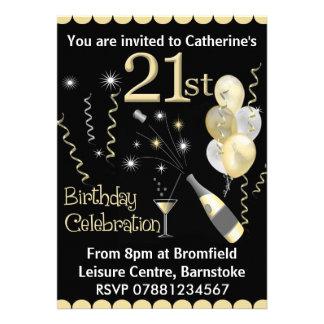 21ème Invitations de fête d'anniversaire - noir et