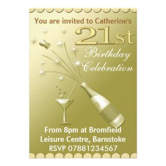 21ème Invitations de fête d'anniversaire - or