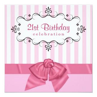 21ème Invitations de fête d'anniversaire - rose et