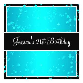 21ème La turquoise de fête d'anniversaire tient le Carton D'invitation 13,33 Cm