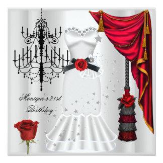 21ème noir blanc élégant de rose rouge carton d'invitation  13,33 cm