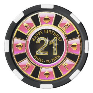 21ème or noir rose du casino | d'anniversaire de jetons de poker