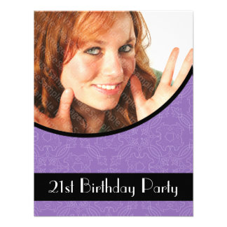 21ème Pourpre de damassé d'invitations de fête d'a
