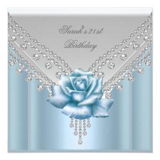 21ème rose blanc élégant de bleu de fête carton d'invitation  13,33 cm