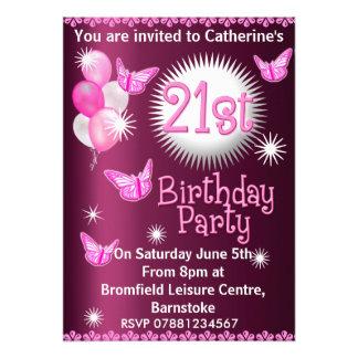 21ème rose d invitation de fête d anniversaire de