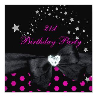 21ème Tache de blanc de noir de rose de fête Faire-part Personnalisé
