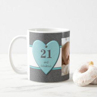 21ème Tasse de café de photo d'anniversaire