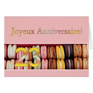 23ème Anniversaire français Macaron-Joyeux Carte De Vœux
