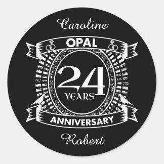 24ème opale d'anniversaire de mariage sticker rond