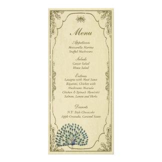 25 étiquettes vintages de menu de mariage de paon double carte en  couleur