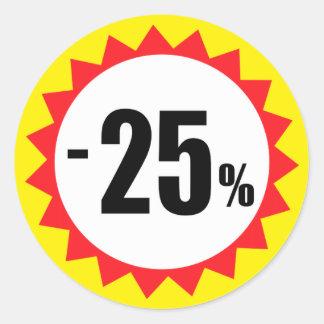 25 pour cent de vente de remise de jaune blanc sticker rond
