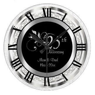 25ème anniversaire argenté élégant de diamant grande horloge ronde