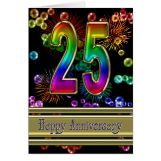 25ème anniversaire avec des feux d'artifice et des carte de vœux