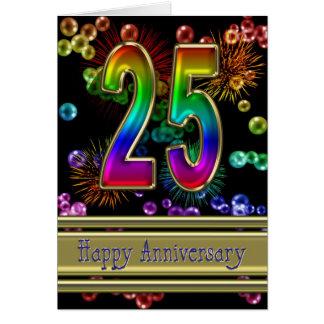 25ème anniversaire avec des feux d'artifice et des cartes
