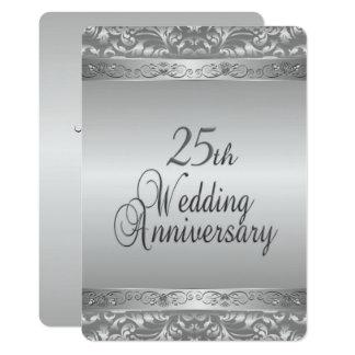25ème Anniversaire de mariage Carton D'invitation 12,7 Cm X 17,78 Cm