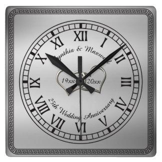 25ème anniversaire de mariage de clé grecque horloge carrée
