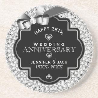 25ème anniversaire de mariage de diamants noirs et dessous de verres