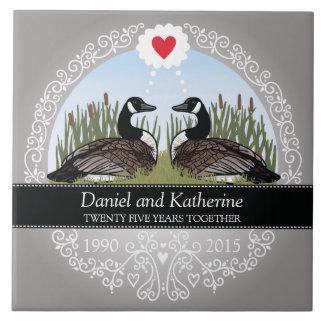 25ème anniversaire de mariage personnalisé, oies grand carreau carré