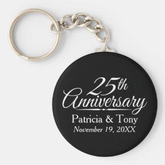 25ème Anniversaire de mariage personnalisé Porte-clé Rond