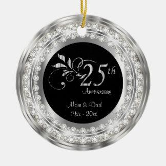 25ème anniversaire de noces d'argent de charme ornement rond en céramique