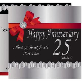 25ème anniversaire de noces d'argent heureux carton d'invitation  13,33 cm