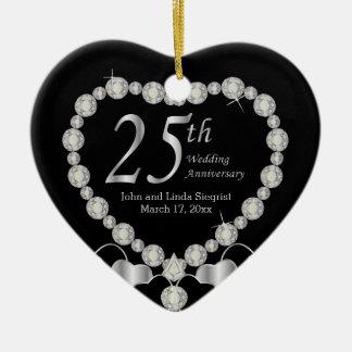 25ème Anniversaire de noces d'argent Ornement Cœur En Céramique