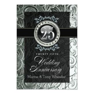 25ème anniversaire floral découpé par charme carton d'invitation  12,7 cm x 17,78 cm