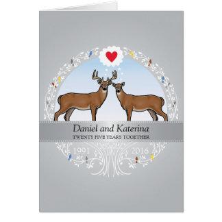 25ème anniversaire, mâle et daine de mariage carte de vœux