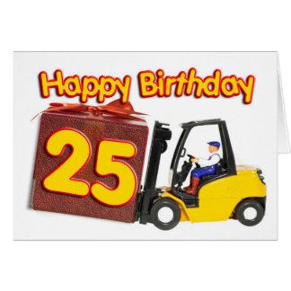 25ème carte d'anniversaire avec un chariot