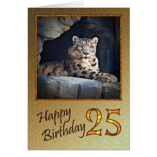 25ème Carte d'anniversaire avec un léopard de
