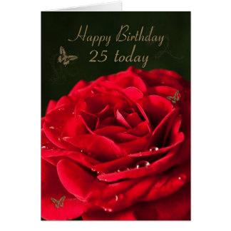 25ème Carte d'anniversaire avec un rose rouge