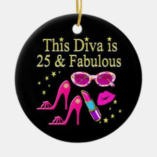 25ème CONCEPTION FABULEUSE de DIVA d'ANNIVERSAIRE Ornement Rond En Céramique
