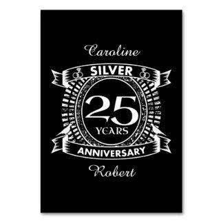 25ème crête d'argent d'anniversaire de mariage carte