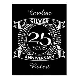 25ème crête d'argent d'anniversaire de mariage carte postale