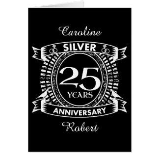 25ème crête d'argent d'anniversaire de mariage cartes