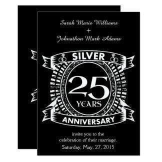 25ème crête d'argent d'anniversaire de mariage carton d'invitation  12,7 cm x 17,78 cm
